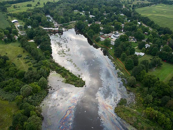 The Kalamazoo River covered in tar sands oil following the 2010 Enbridge spill.