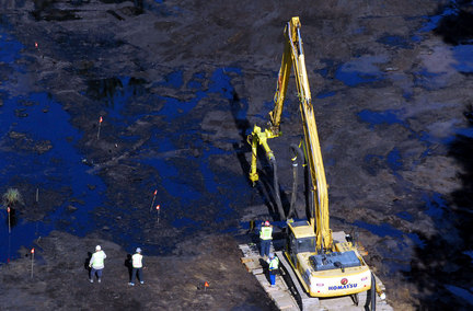 Enbridge dredges the Kalamazoo River after a tar sands release in 2010.